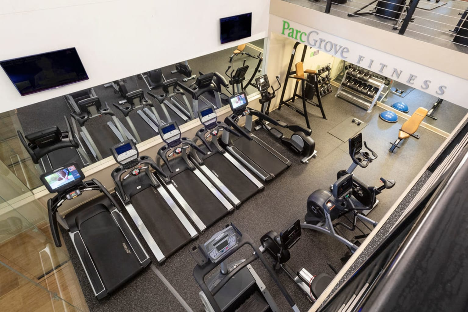 Aerial view of the treadmills in the fitness center at Sofi Parc Grove in Stamford, Connecticut