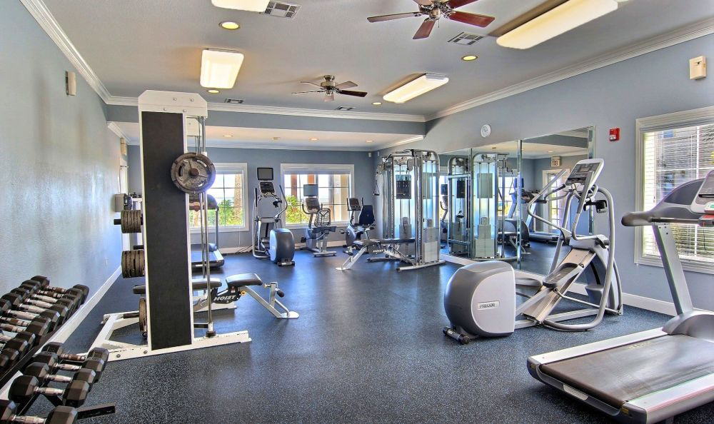 Well-equipped fitness center at Baypoint in Corpus Christi, Texas