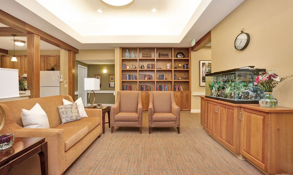 Common area with fish tank at Seven Lakes Memory Care in Loveland, Colorado