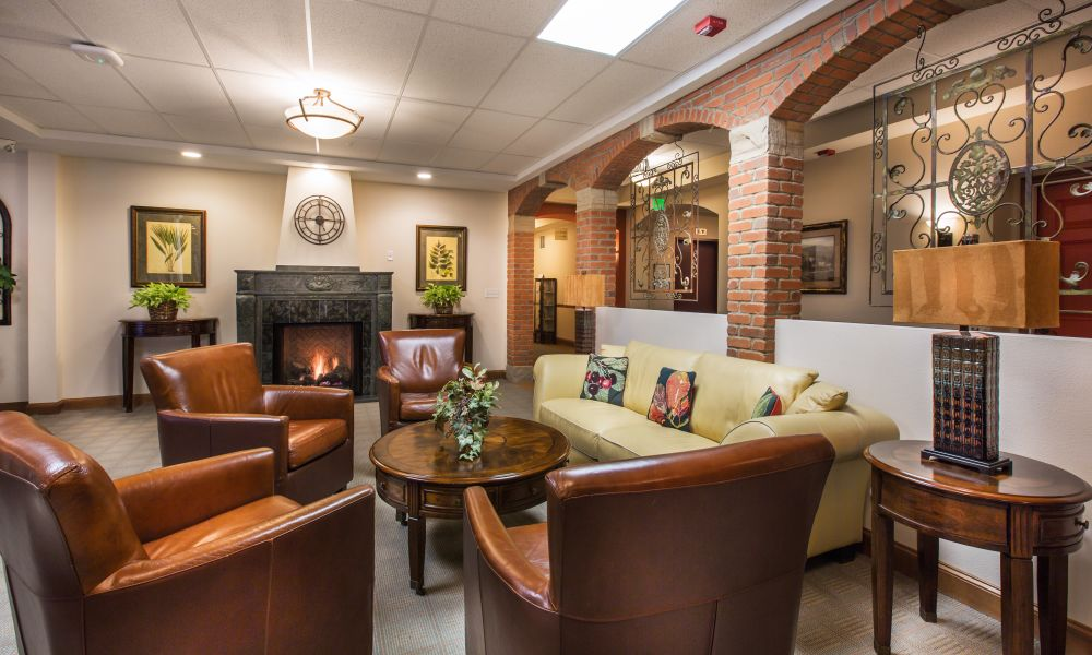 Common area with leather couches in Loveland, Colorado