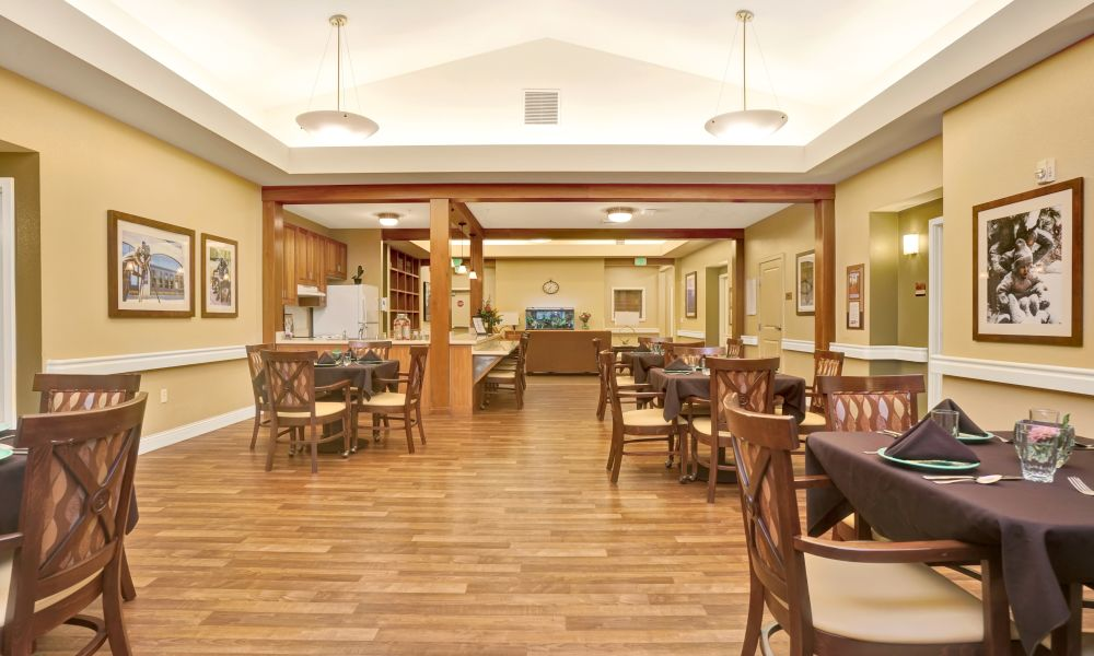 Dining hall at Seven Lakes Memory Care in Loveland, Colorado