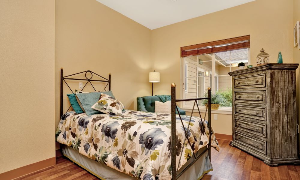 Resident bedroom at Seven Lakes Memory Care in Loveland, Colorado