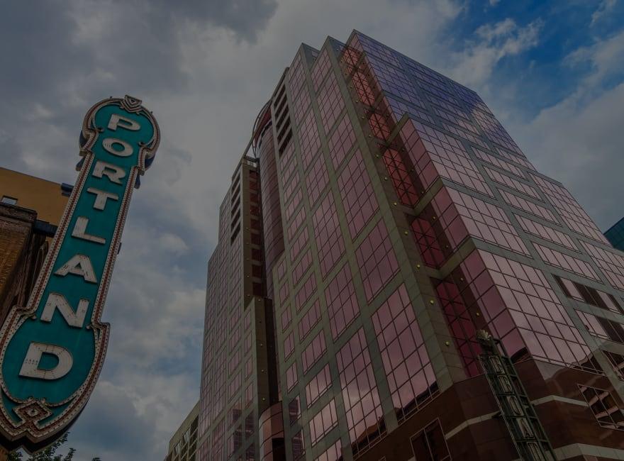 Iconic Portland sign by Moda Center near Ascend in Portland, Oregon