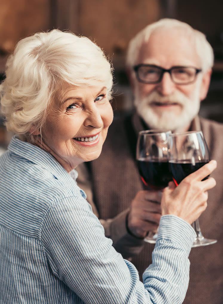 Seniors drinking wine at The Bellettini in Bellevue, Washington