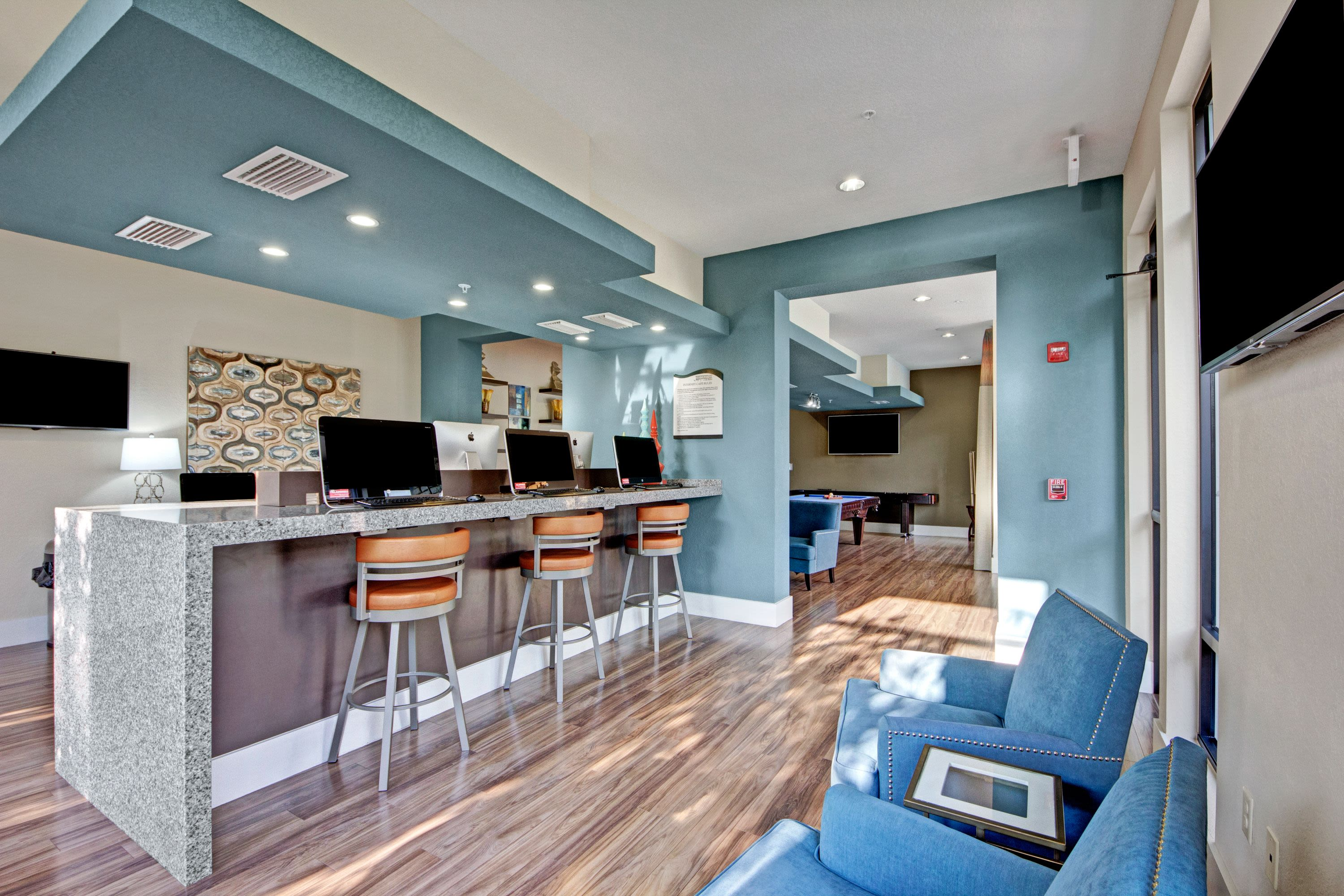 Internet & media room at The Courtney at Lake Shadow in Orlando, Florida