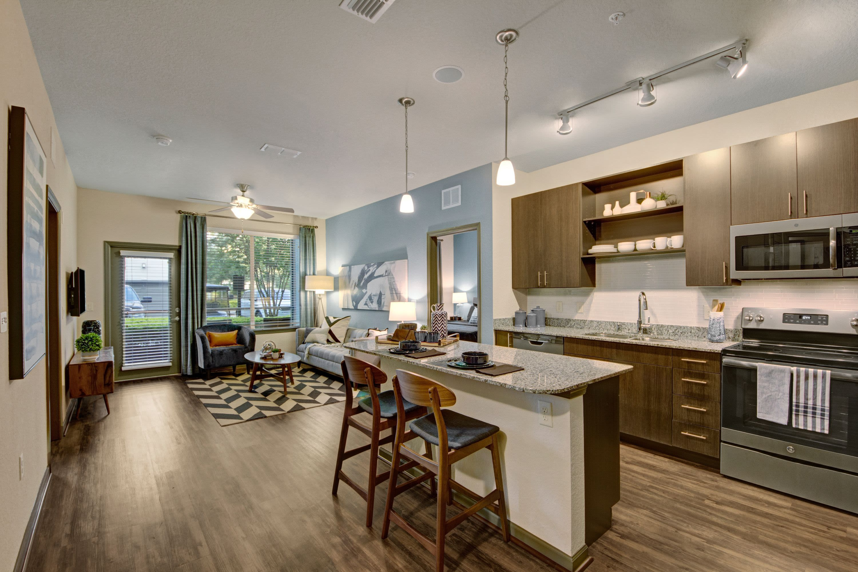 Spacious living room at The Courtney at Lake Shadow in Orlando, Florida