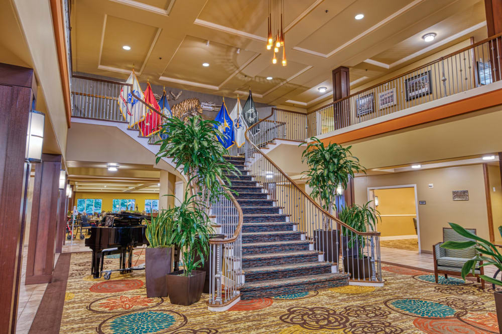 Grand staircase at Patriots Landing in DuPont, Washington.
