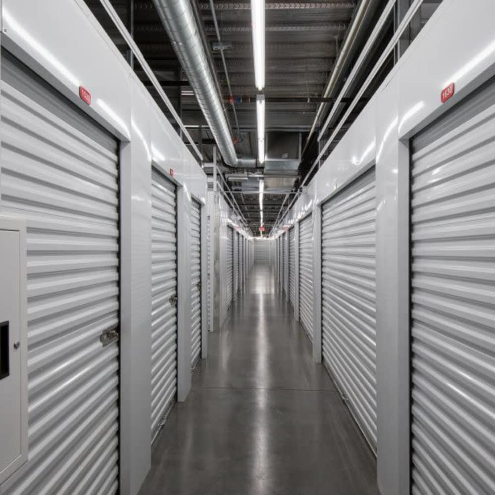 Interior self storage units at Advantage Storage - McDermott Square.