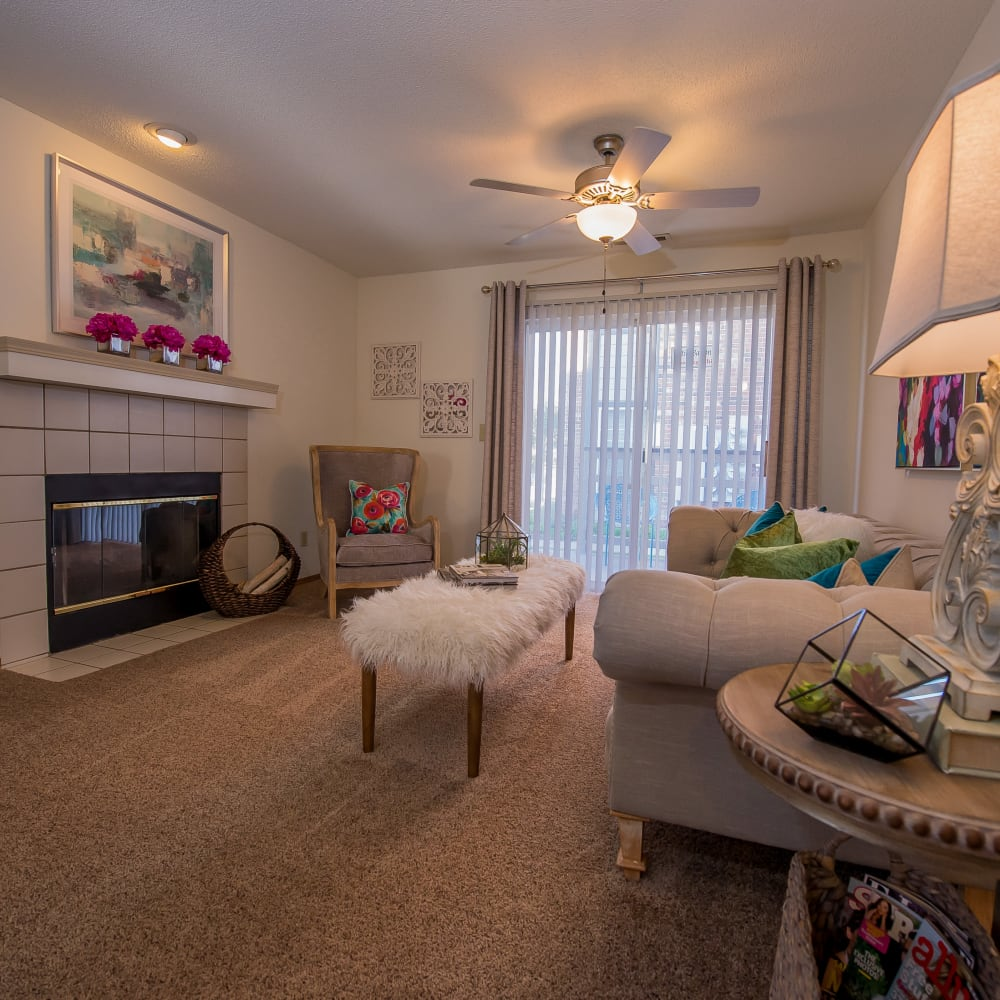 Wonderful living room at Huntington Park Apartments in Wichita, Kansas