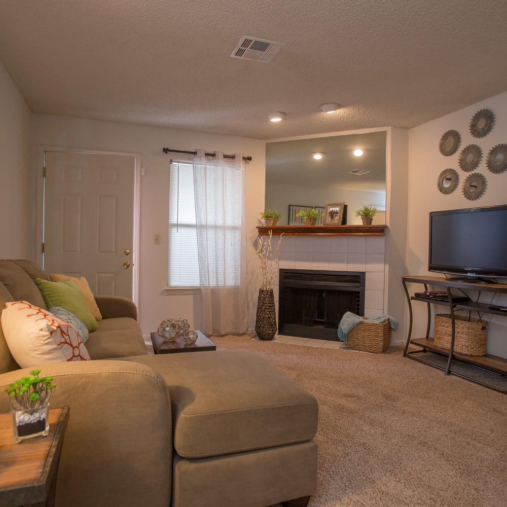 Wonderful living room at Polo Run Apartments in Tulsa, Oklahoma