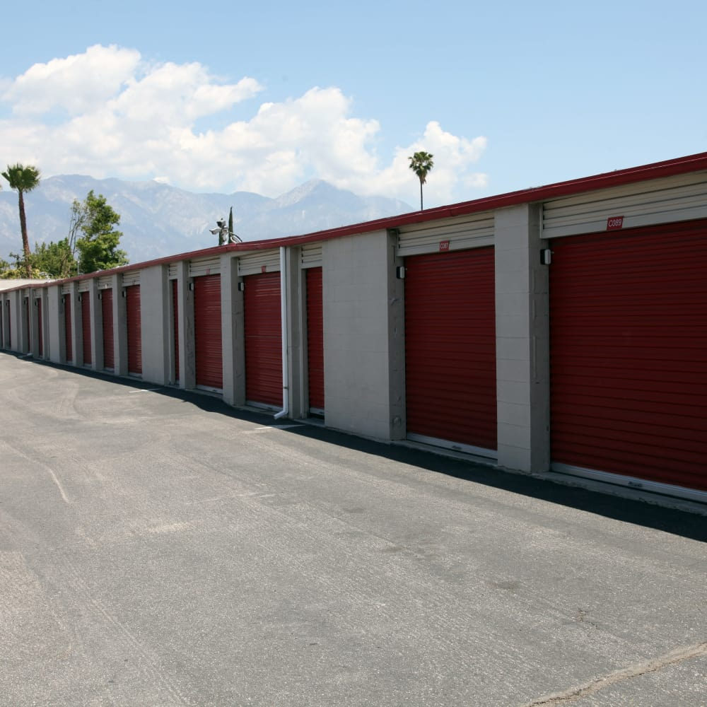 Drive-up units at Trojan Storage in Ontario, California