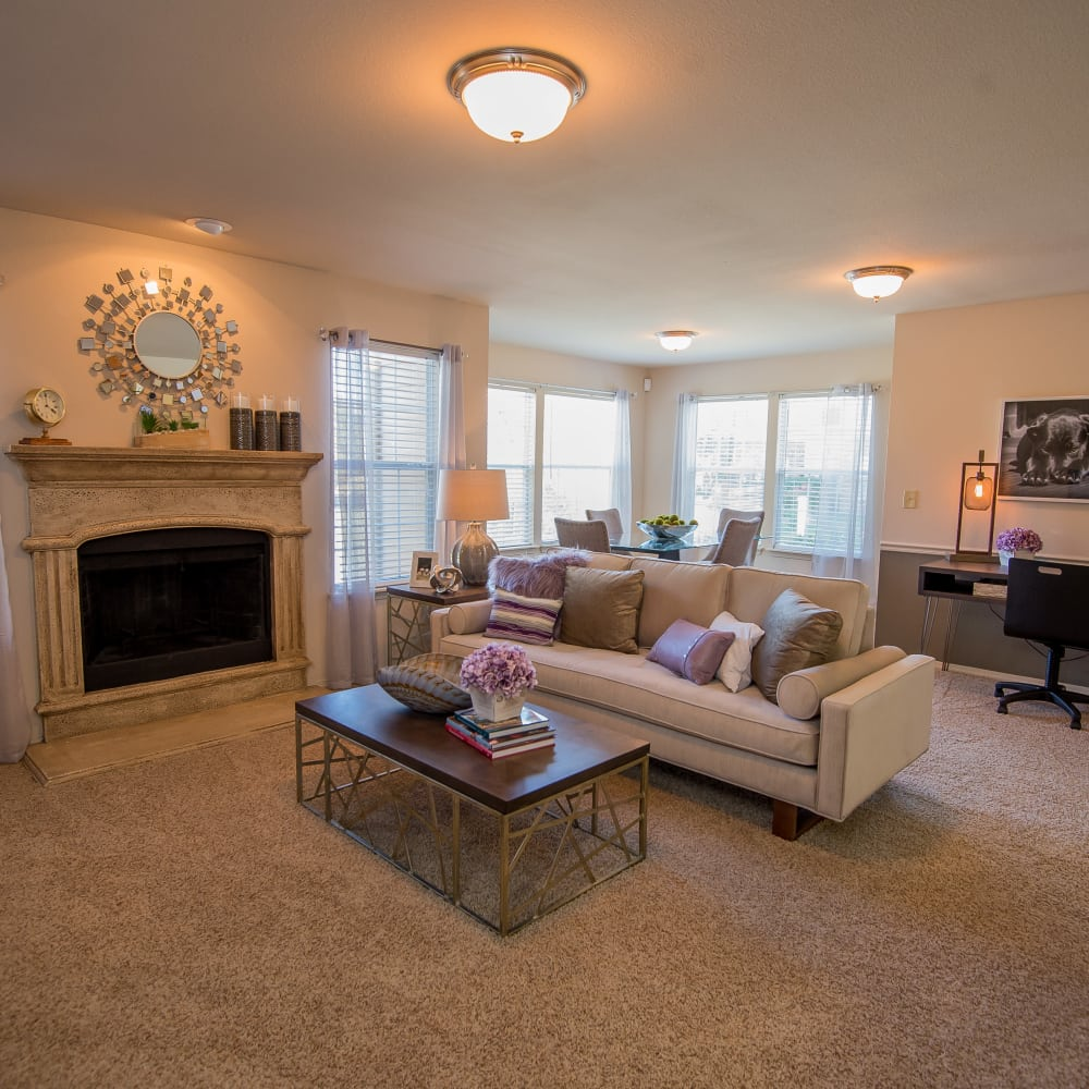 Wonderful living room at Villas at Aspen Park in Broken Arrow, Oklahoma