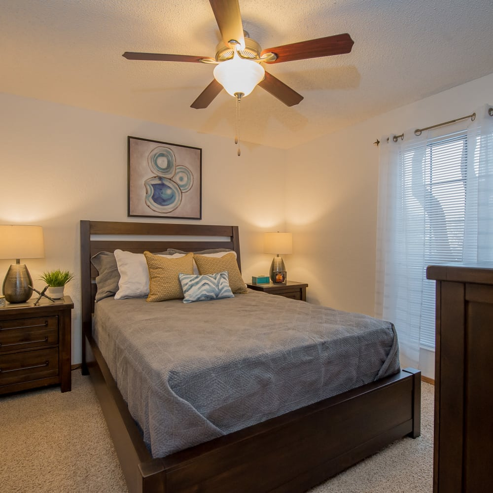 Bedroom at Warrington Apartments in Oklahoma City, Oklahoma
