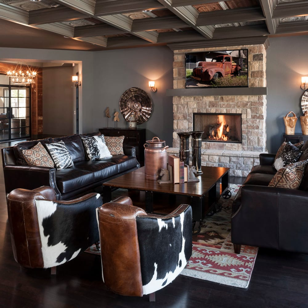 Community clubhouse with ample seating at The Asten at Ribelin Ranch in Austin, Texas