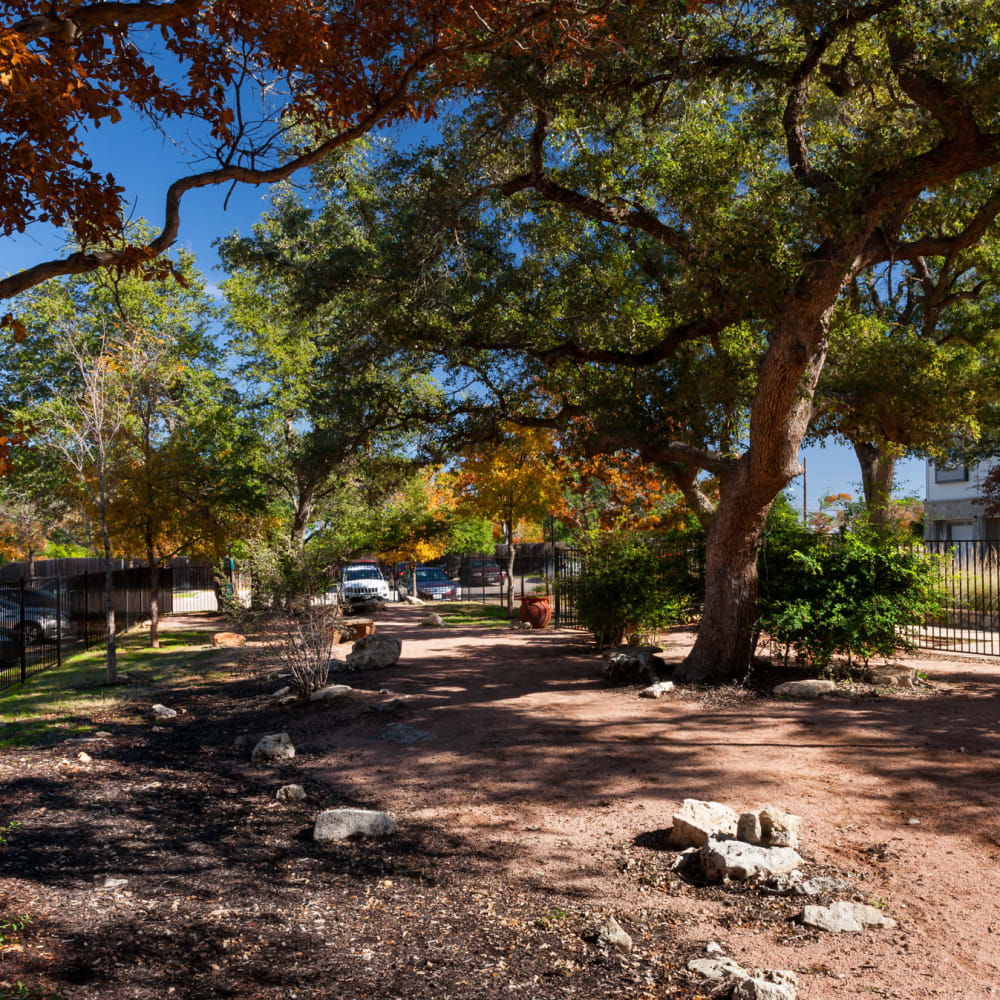Beautiful covered dirt walking trail at The Asten at Ribelin Ranch in Austin, Texas