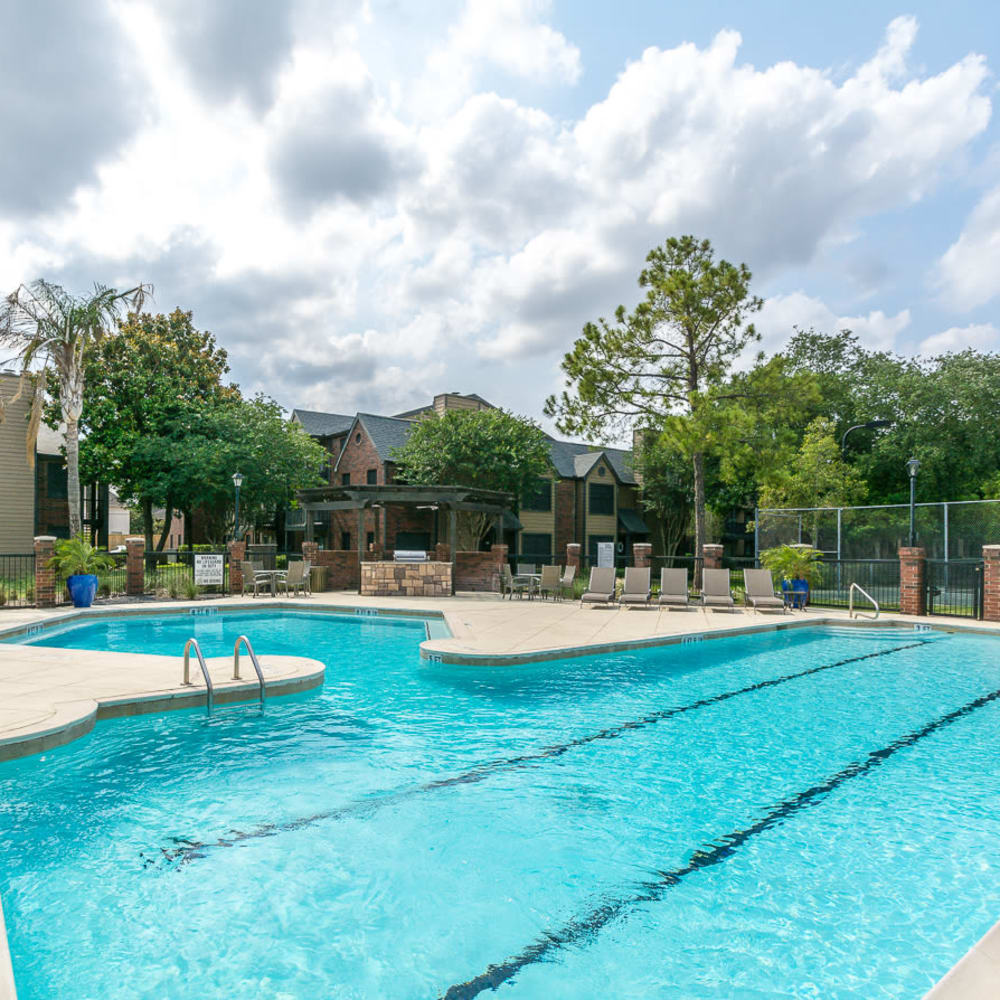 Lap pool with pool seating included at Hayden at Enclave in Houston, Texas