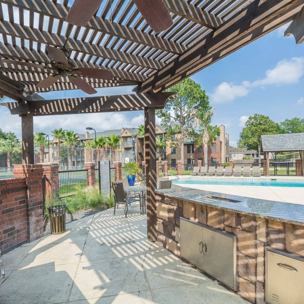 Community poolside grill at Hayden at Enclave in Houston, Texas