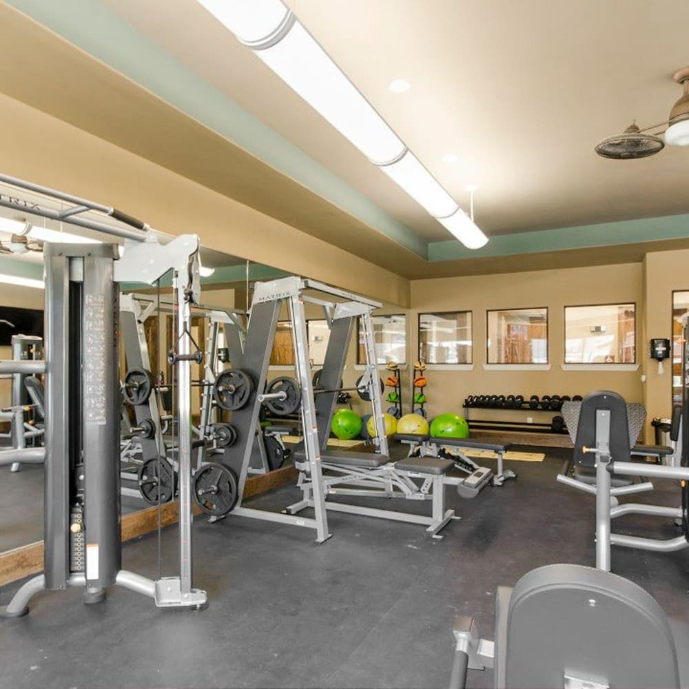 Equipment in the fitness center at Legacy Brooks in San Antonio, Texas