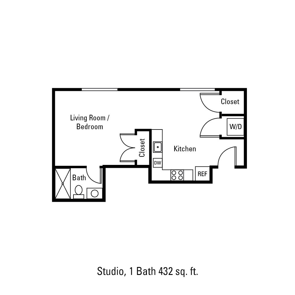 Studio, 1 Bath 432 sq. ft. apartment in Canandaigua, NY