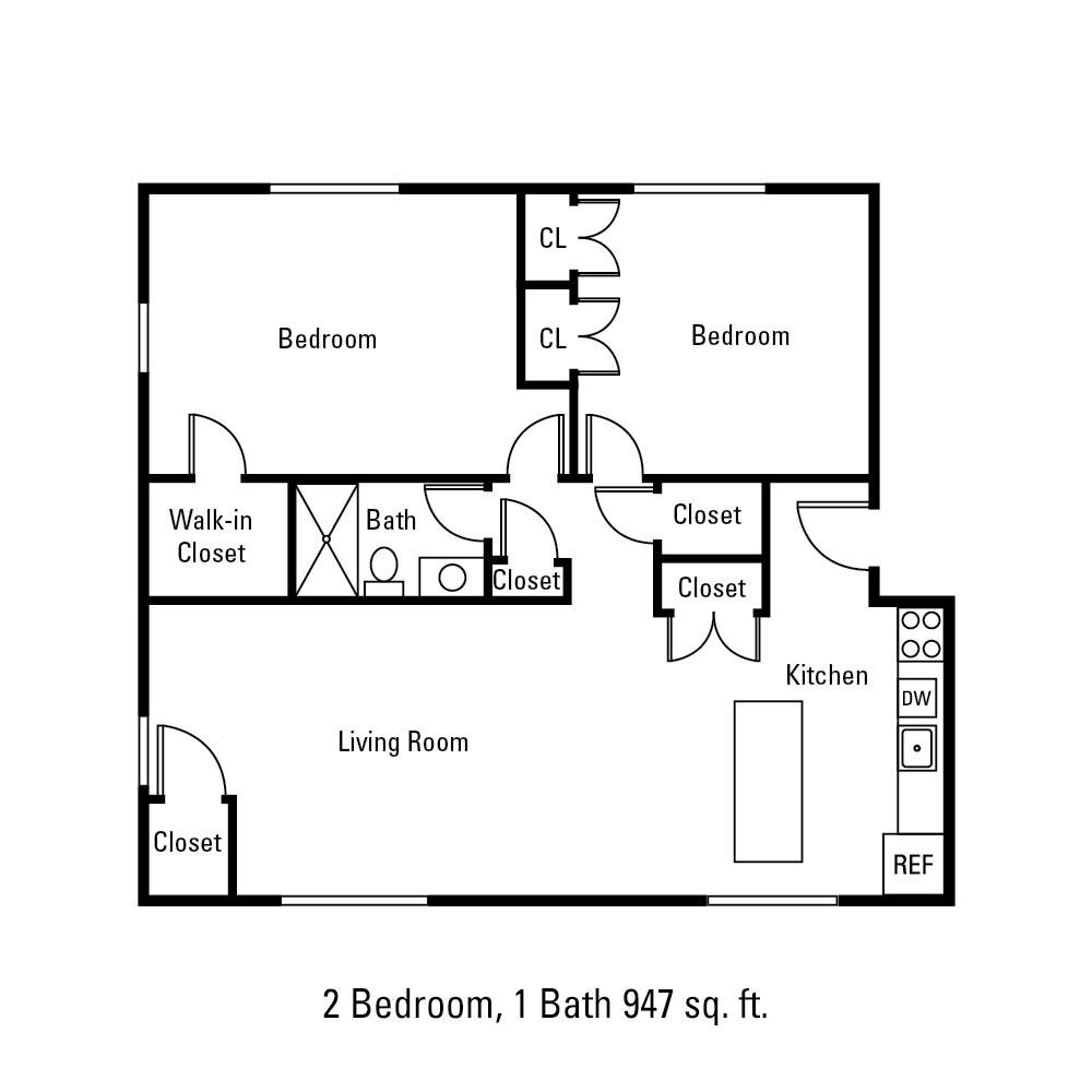 2 Bedroom, 1 Bath 947 sq. ft. apartment in Canandaigua, NY