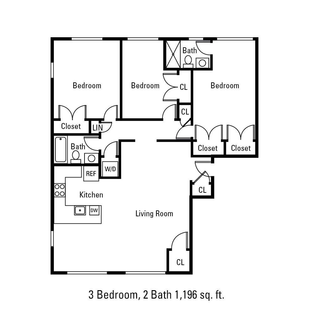 3 Bedroom, 2 Bath 1196 sq. ft. apartment in Canandaigua, NY