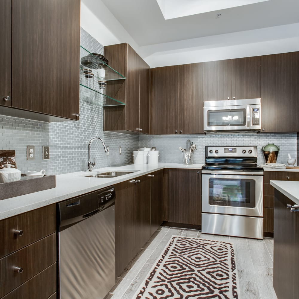 Sleek kitchen with stainless steel appliances at Cantabria at Turtle Creek in Dallas, Texas