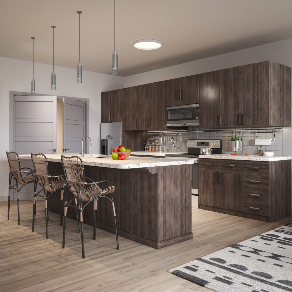 Stainless-steel appliances in the kitchen at The District at Chandler in Chandler, Arizona