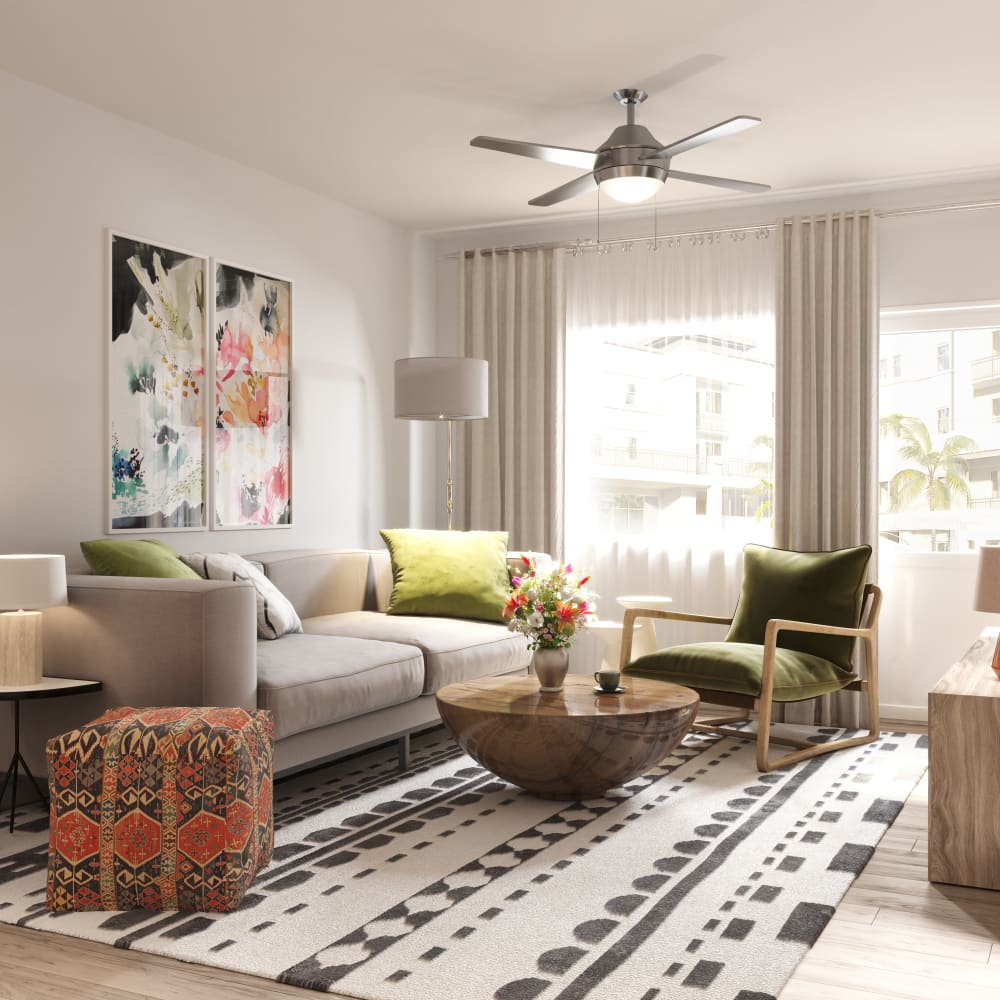 Living room with modern amenities at The District at Chandler in Chandler, Arizona