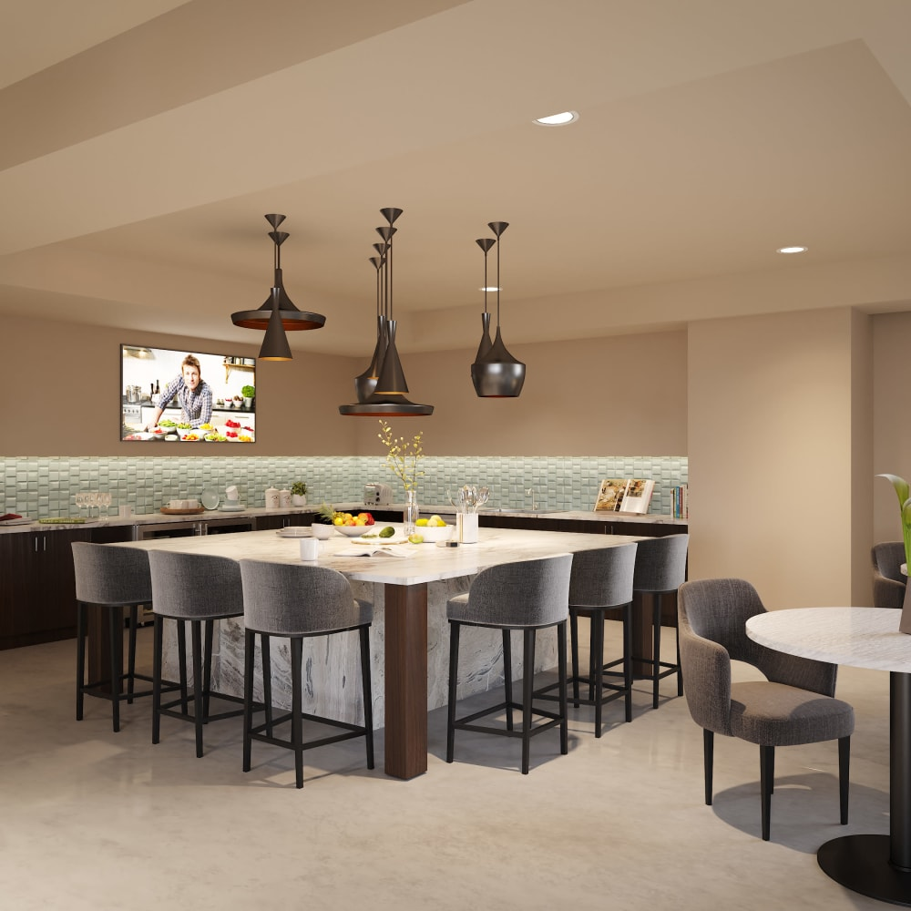 Clubhouse kitchen at The District at Chandler in Chandler, Arizona
