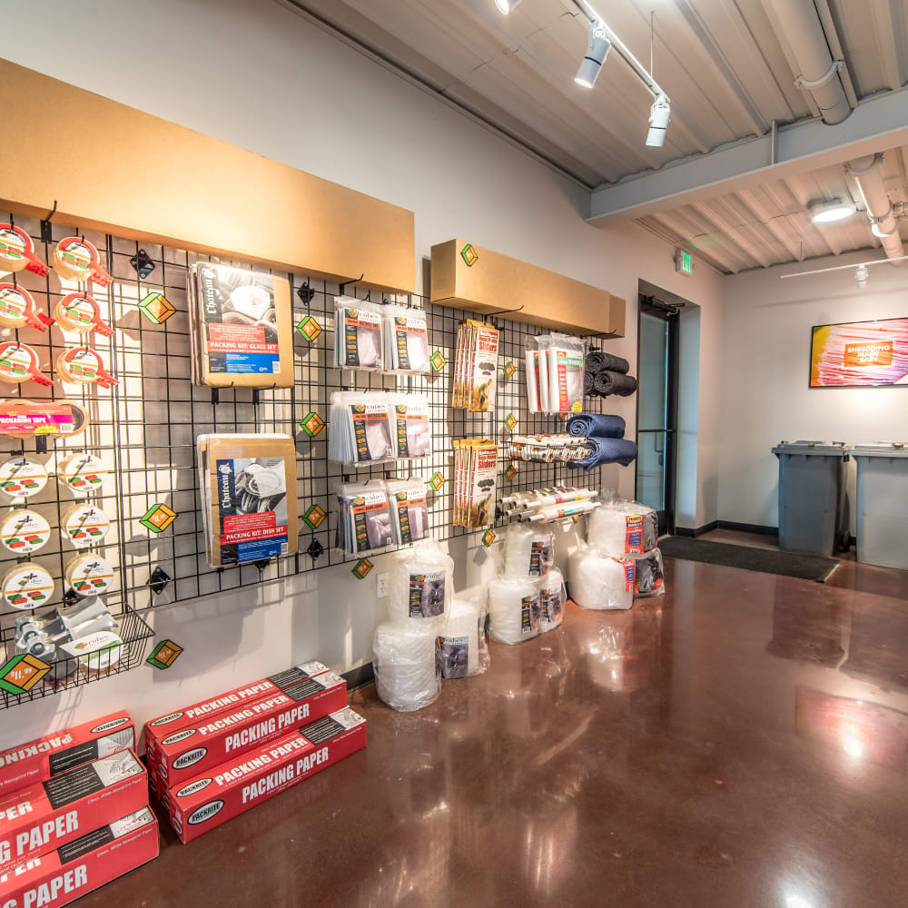 Inside the store at Cubes Self Storage in Kirkland, Washington
