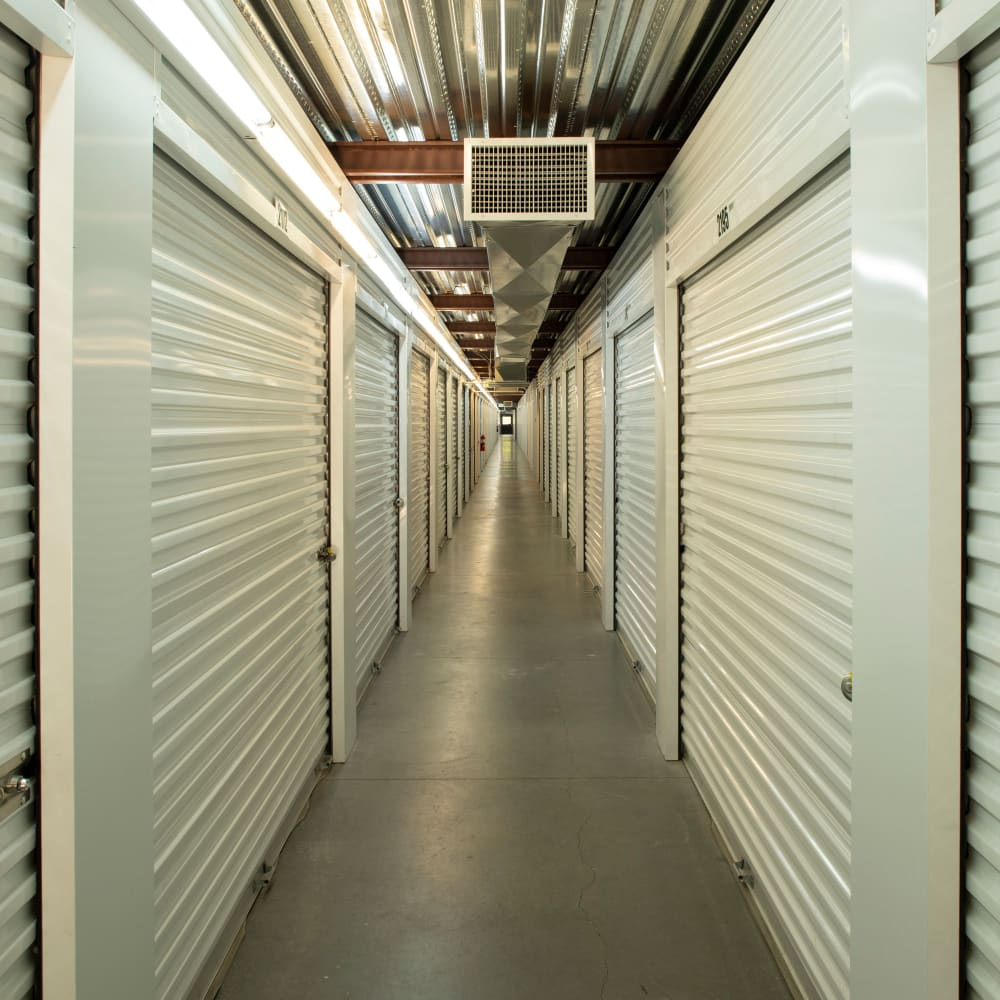 Interior storage units at Cubes Self Storage in Bountiful, Utah