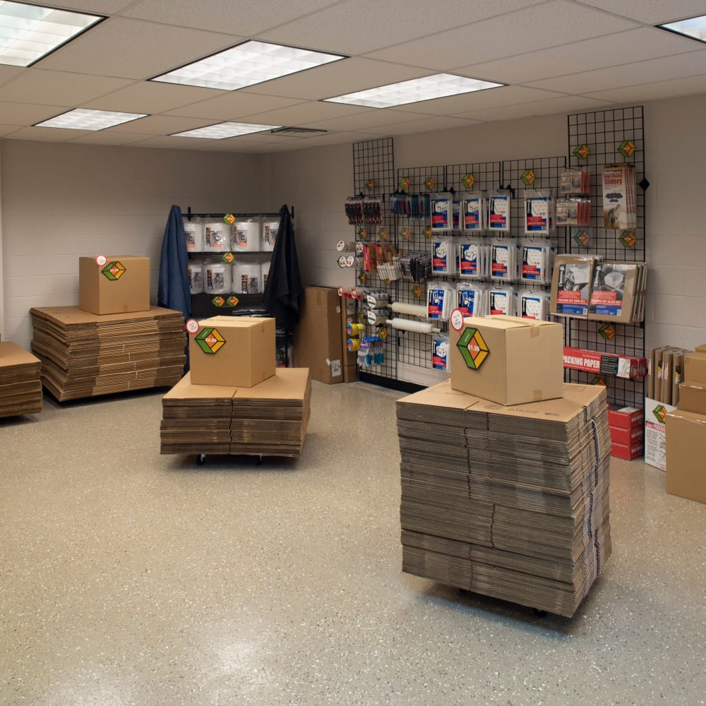 Inside the store at Cubes Self Storage in Bountiful, Utah