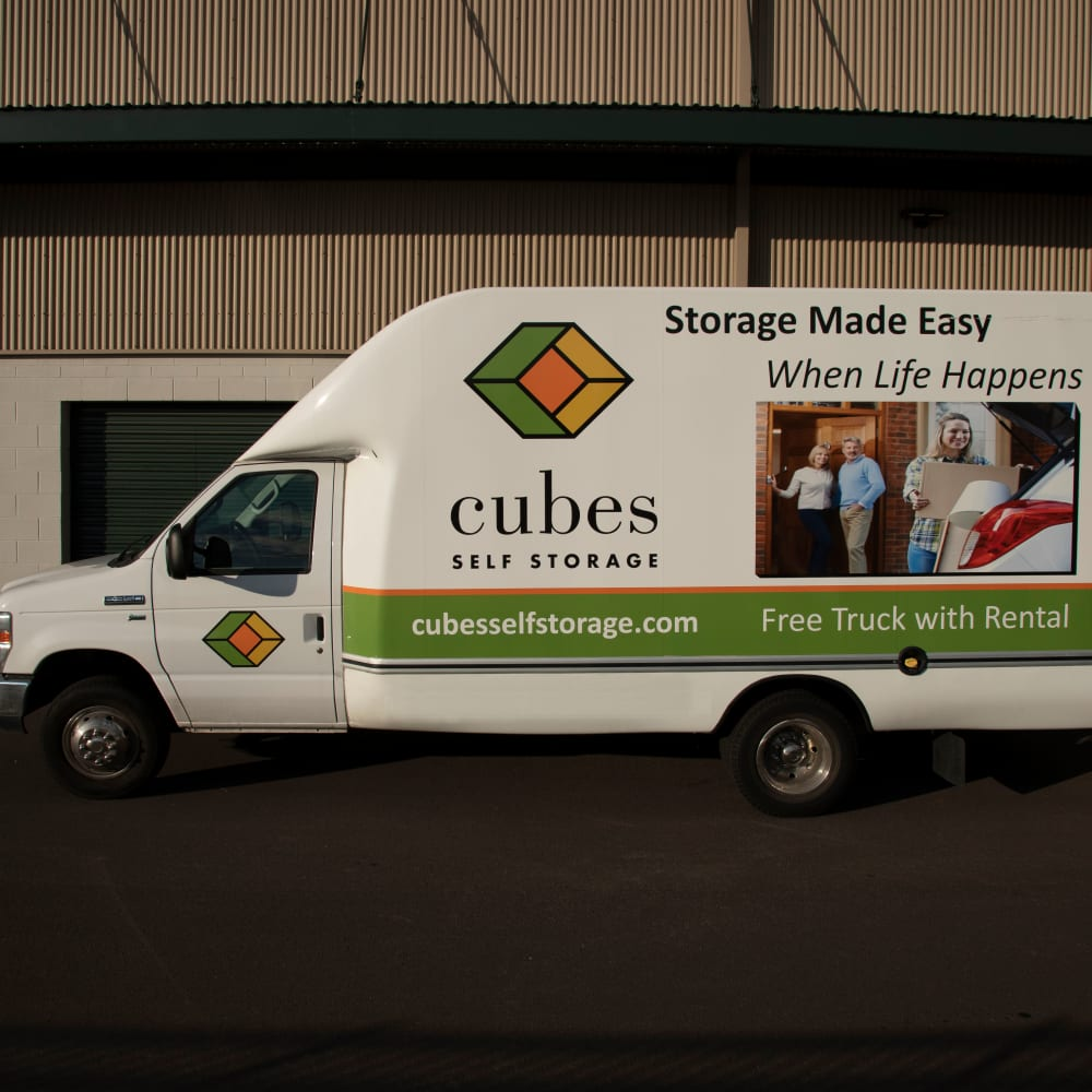 One of our moving trucks at Cubes Self Storage in Bountiful, Utah