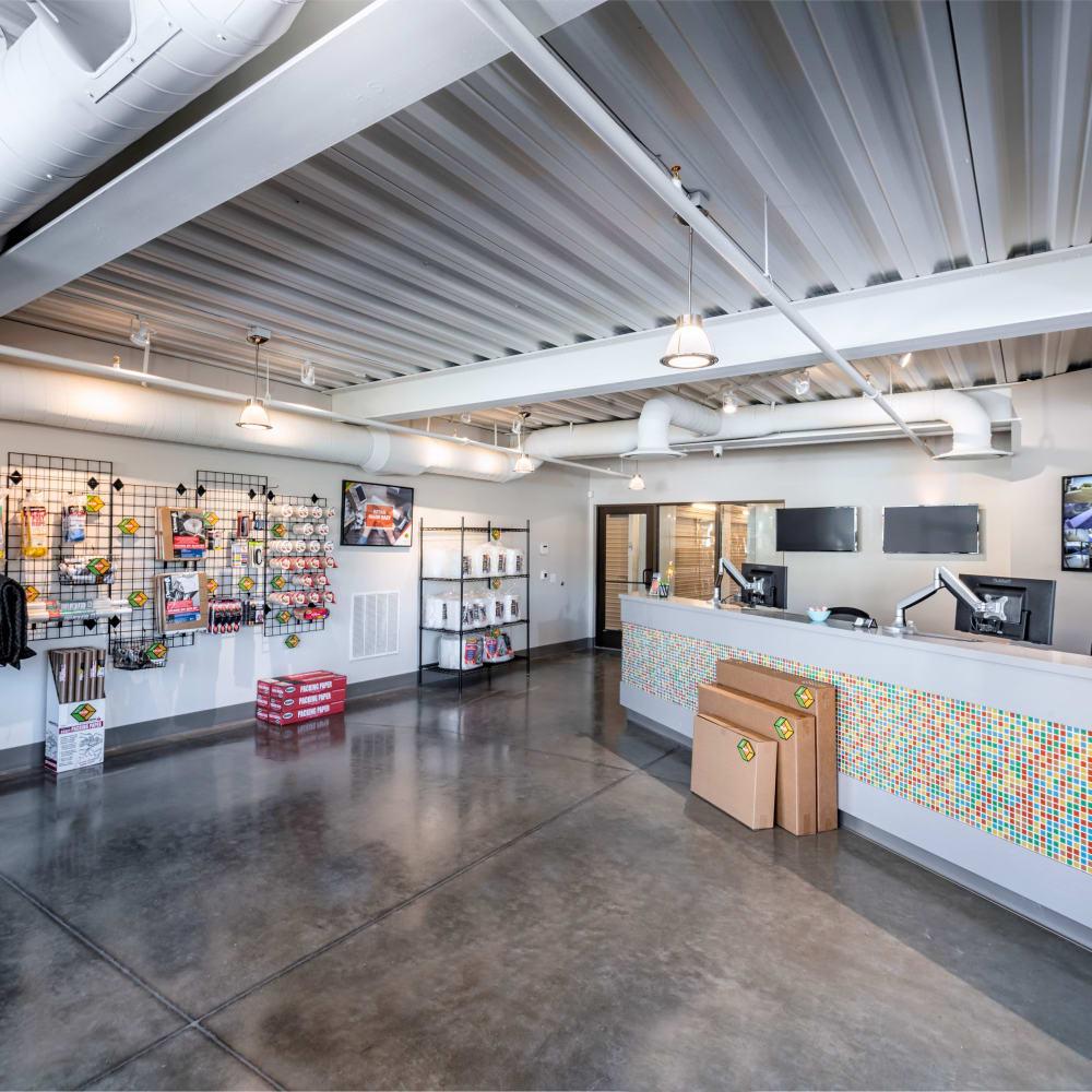 Inside the store at Cubes Self Storage in Cottonwood Heights, Utah