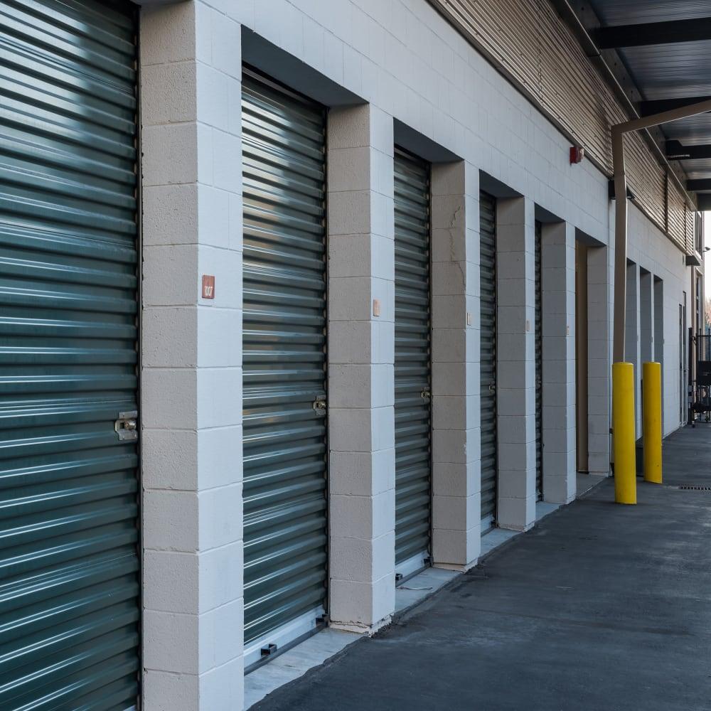 A row of storage units at Cubes Self Storage in Cottonwood Heights, Utah