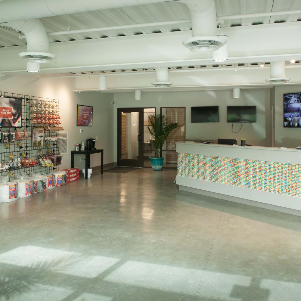 Inside the store at Cubes Self Storage in Farmington, Utah