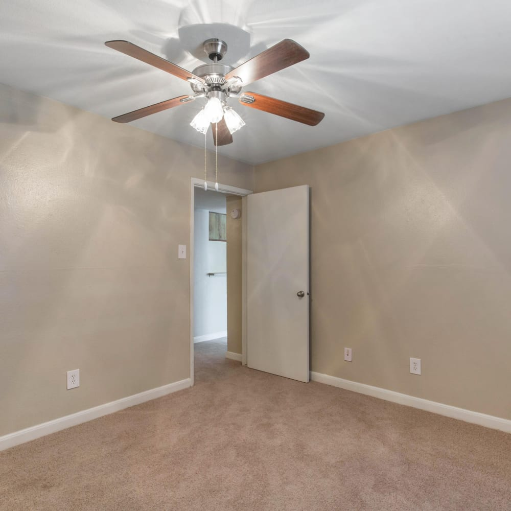 Bedrooms with a ceiling fan at Finley West in Houston, Texas