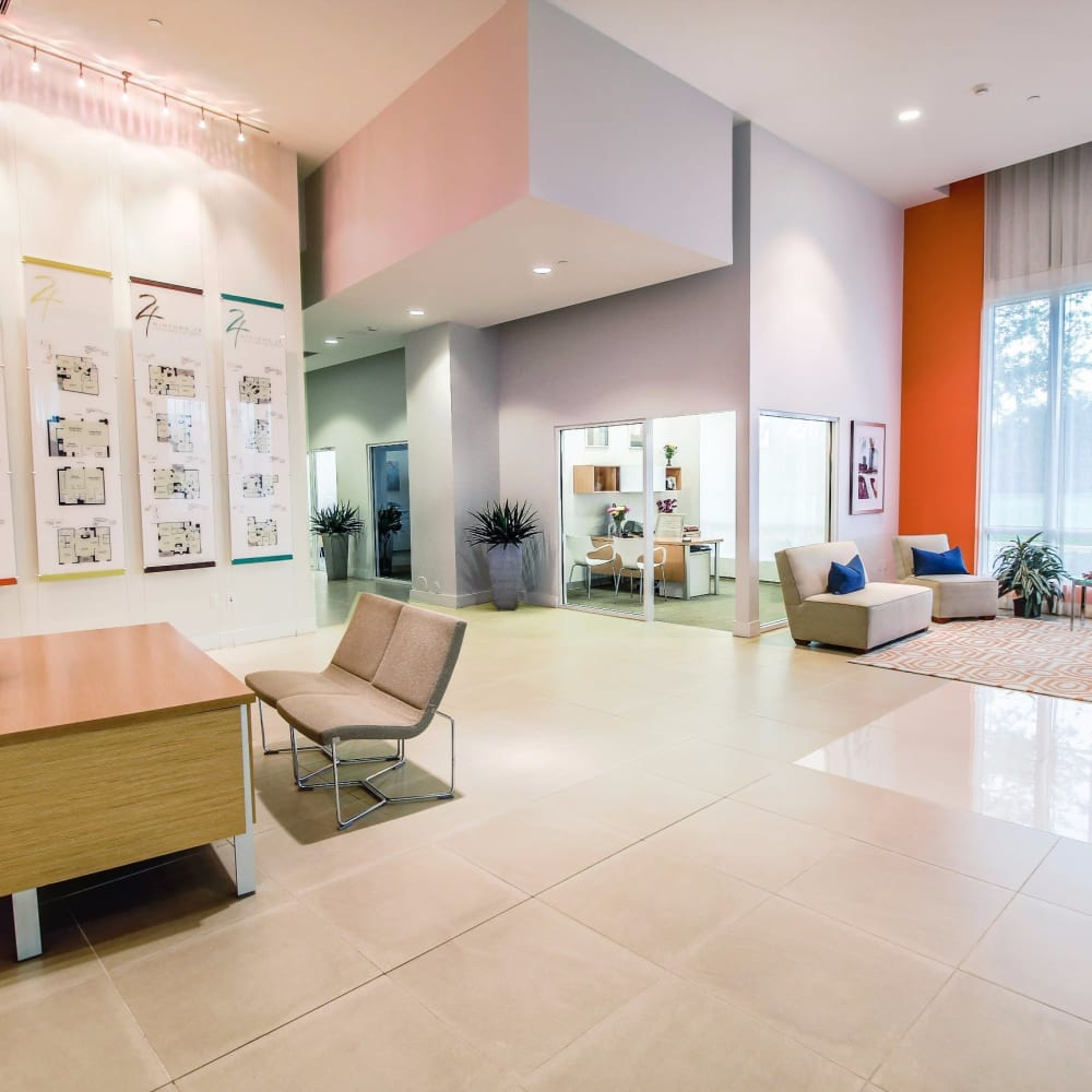 large modern lobby at Midtown 24 in Plantation, Florida