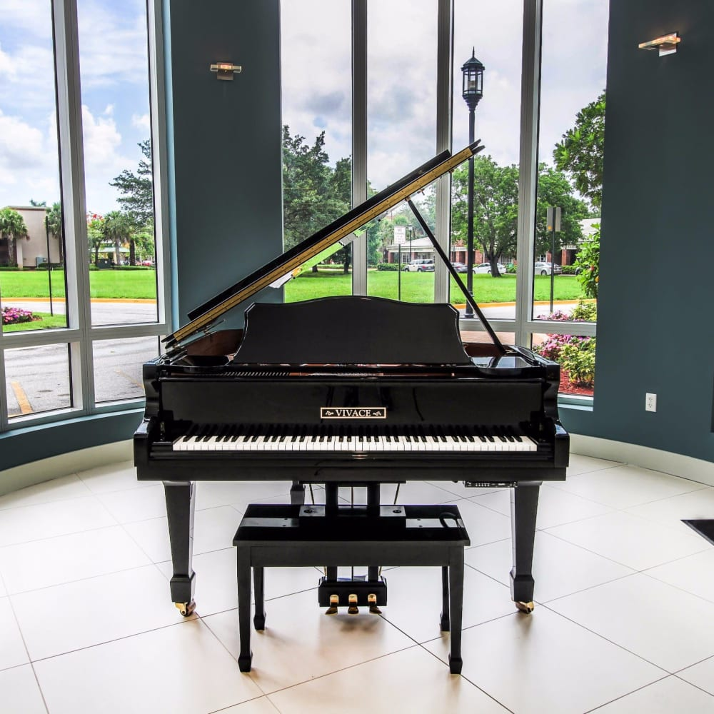 Grand piano in the lobby at Midtown 24 in Plantation, Florida