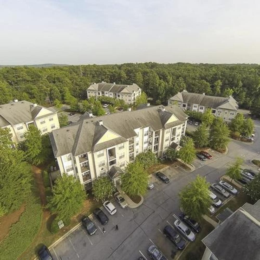 Aerial view of the at Cavalier @ 100 apartment complex in Lithonia, Georgia