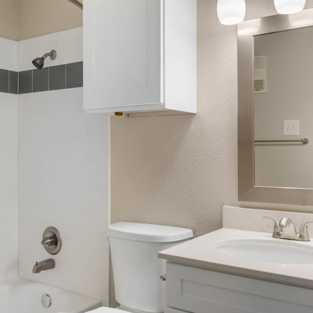 Storage space in an apartment bathroom at Lodge @ 1550 in Katy, Texas