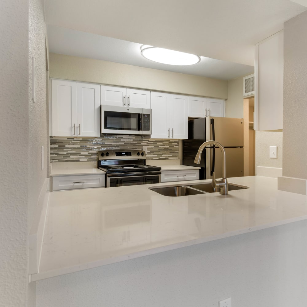 Luxurious resident apartment kitchen at Lodge @ 1550 in Katy, Texas
