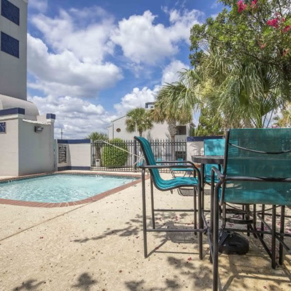 Poolside seating at Royal Palms in San Antonio, Texas