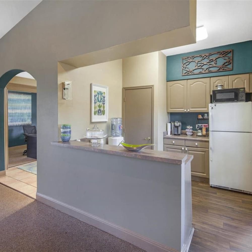 Clubhouse kitchen for resident use at Royal Palms in San Antonio, Texas