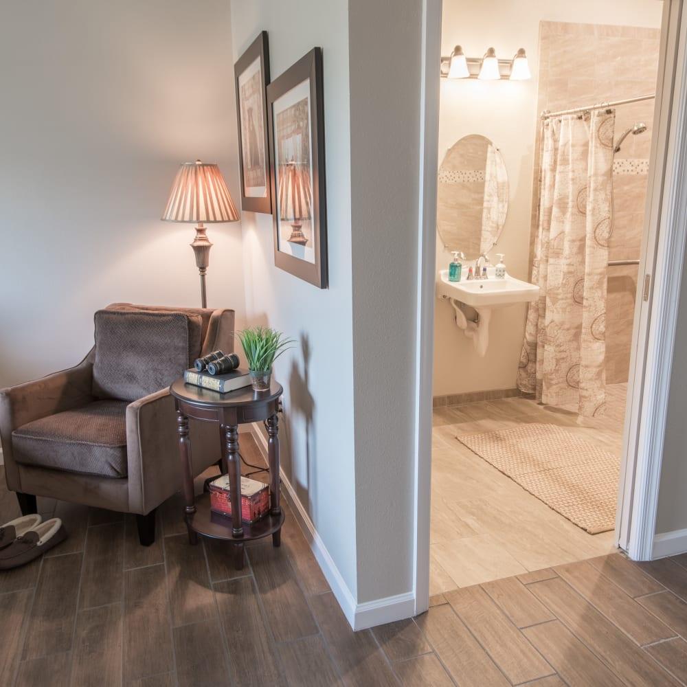 Resident bathroom at Inspired Living at Bonita Springs in Bonita Springs, Florida