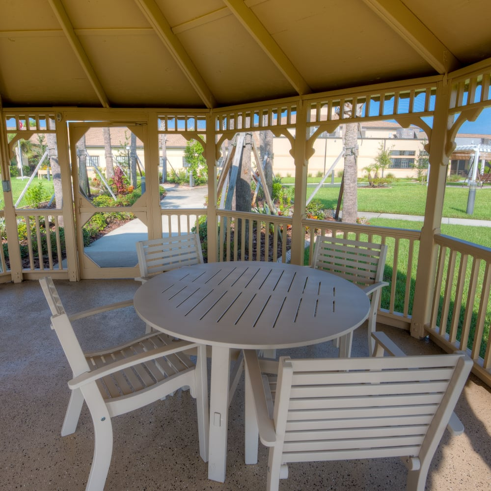 shaded gazebo at Inspired Living Hidden Lakes in Bradenton, Florida.