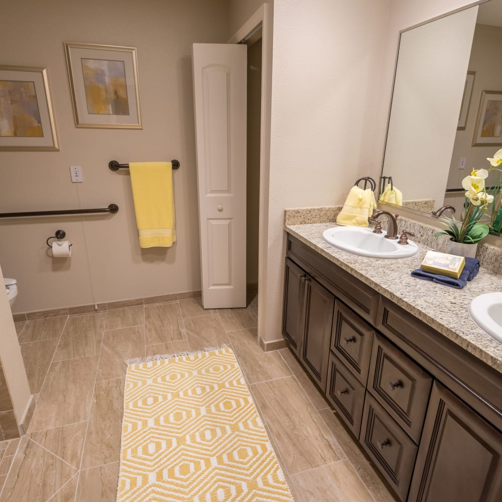 A resident bathroom at Inspired Living Lakewood Ranch in Bradenton, Florida