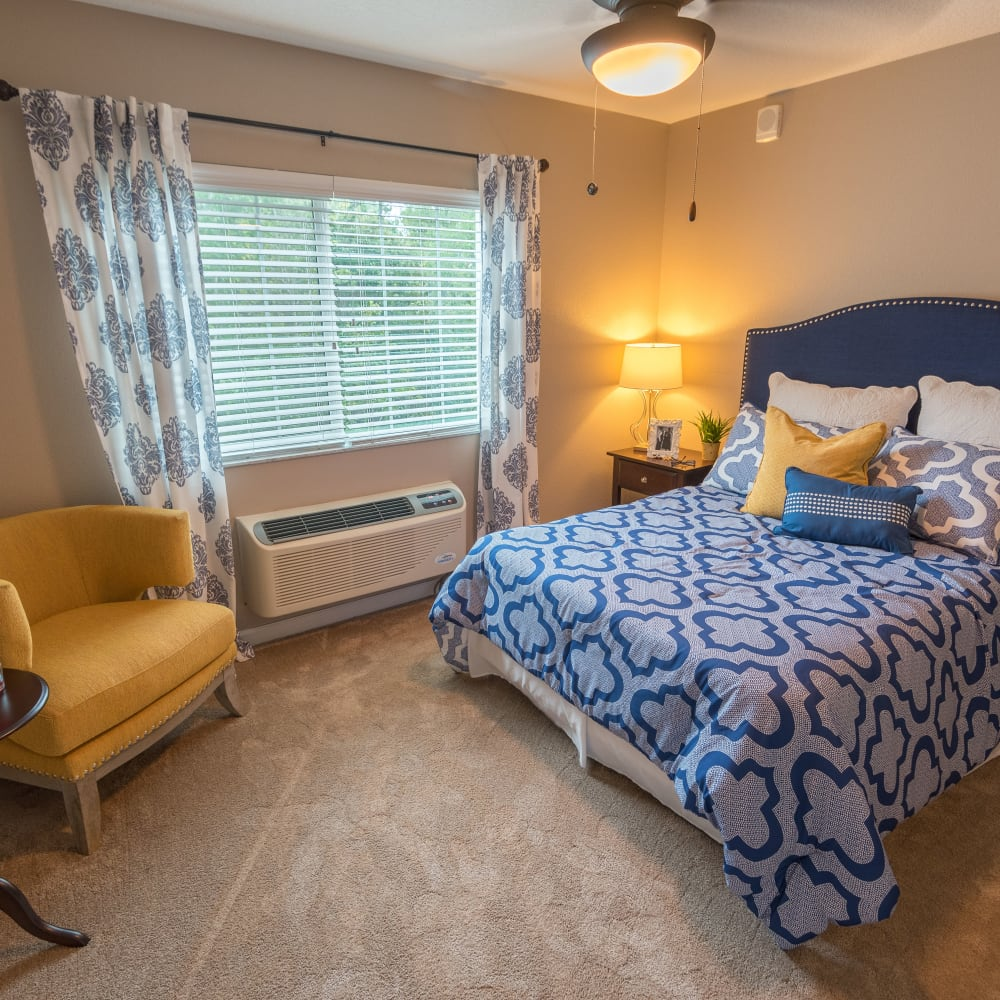 Model bedroom at Inspired Living Lewisville in Lewisville, Texas