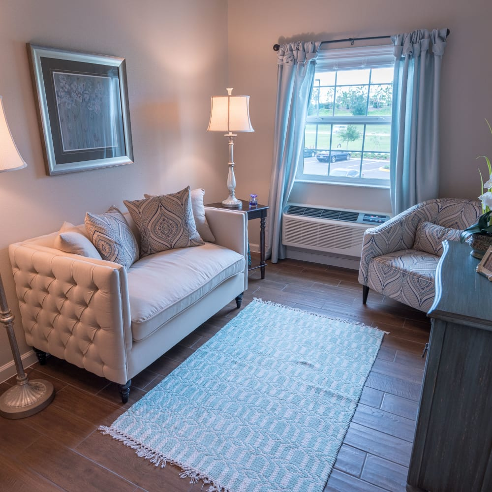 Studio apartment living room at Inspired Living in Tampa, Florida
