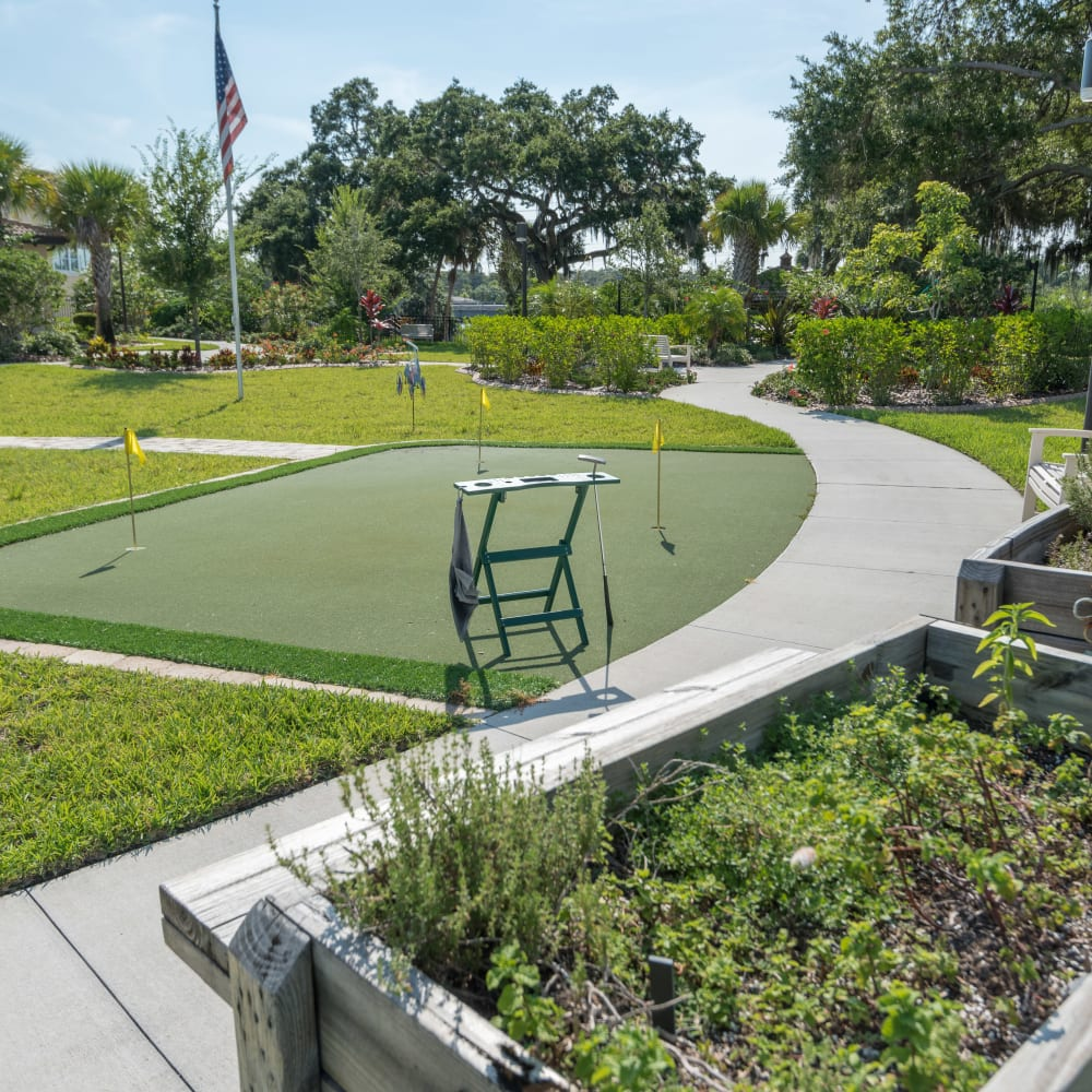 Onsite putting green at Inspired Living in Sarasota, Florida.